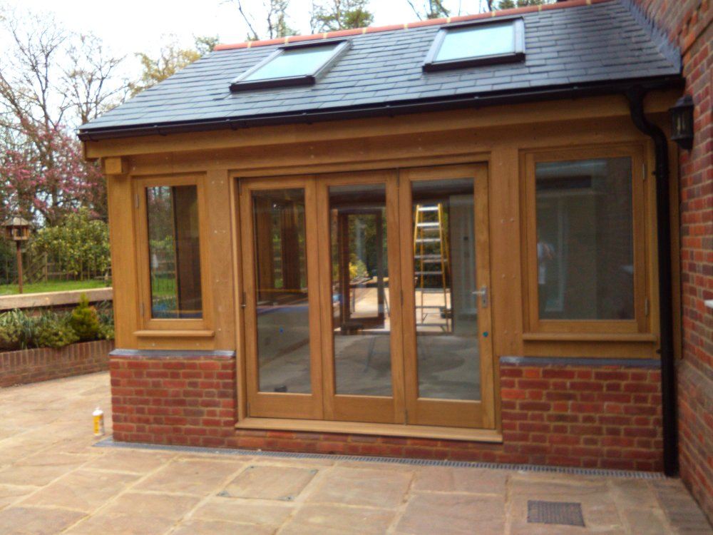 This oak sun room was a beautiful addition to an already stunning property