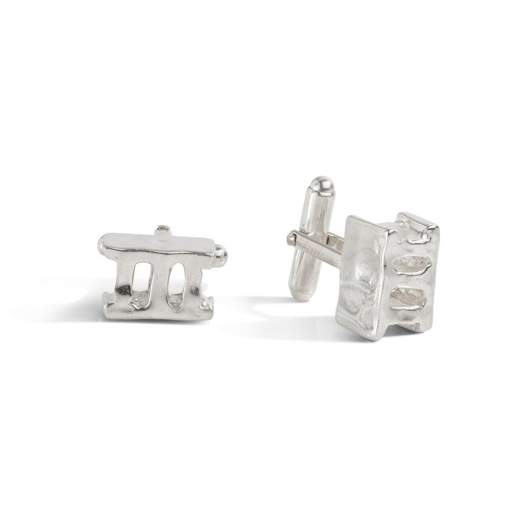 Cinder block cufflinks | sterling silver