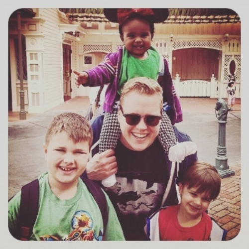 Marisa's family, back in the day... Liam (9), Harper (1), Jesse, and Finn (6) on Harper's first trip to Disneyland.