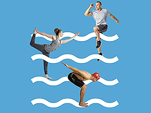 woman in yoga pose, man running, man diving