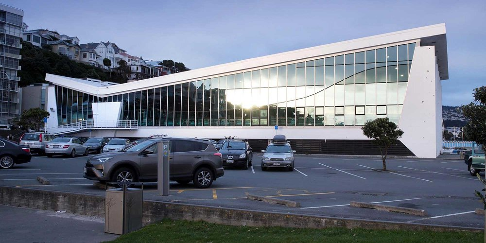 External view of Freyberg Pool & Fitness Centre, Oriental Bay.