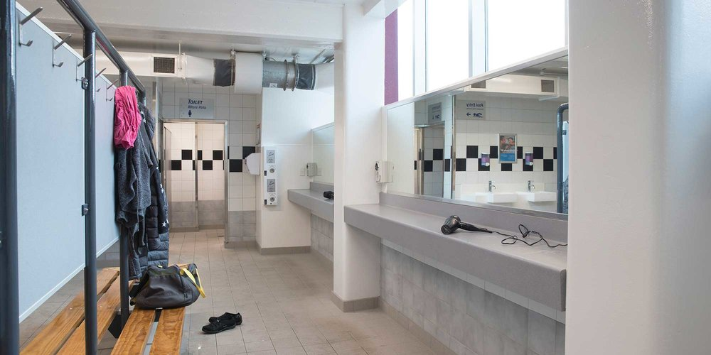 Freyberg Pool & Fitness Centre changing room.