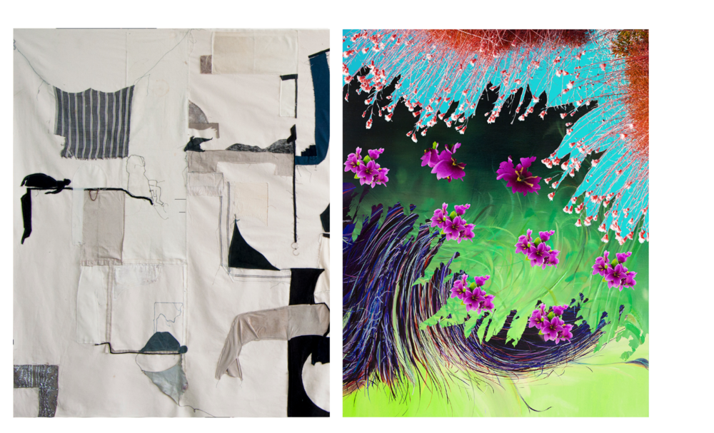 "Left: Fanny Allié, New Work for the Yard Gowanus (2019), mixed media, 60"" x 108"" (detail)  Right: Ketta Ioannidou, ""River I"" (2016), archival Pigment print on paper, Edition of 5 (framed), 20"" x 16"""