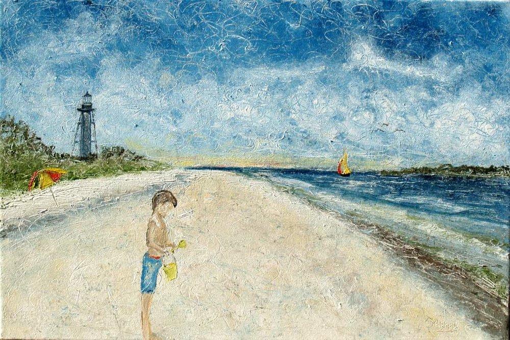 """'Boy at the Beach', 30""""x20"""" ol on canvas"""