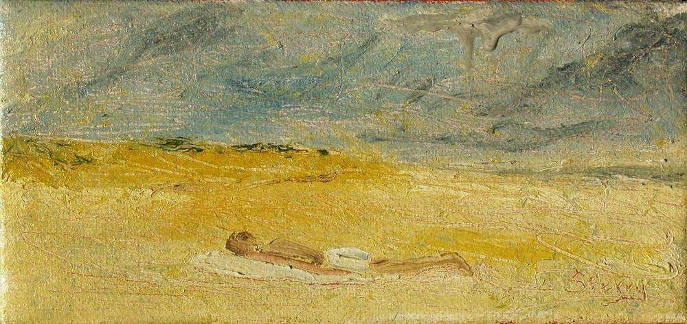 "'Sunbather', 13.5""x6.5"" oil on canvas"