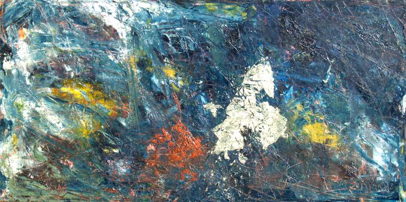 """'Touch of Night', 30""""x15"""" mixed media on canvas"""