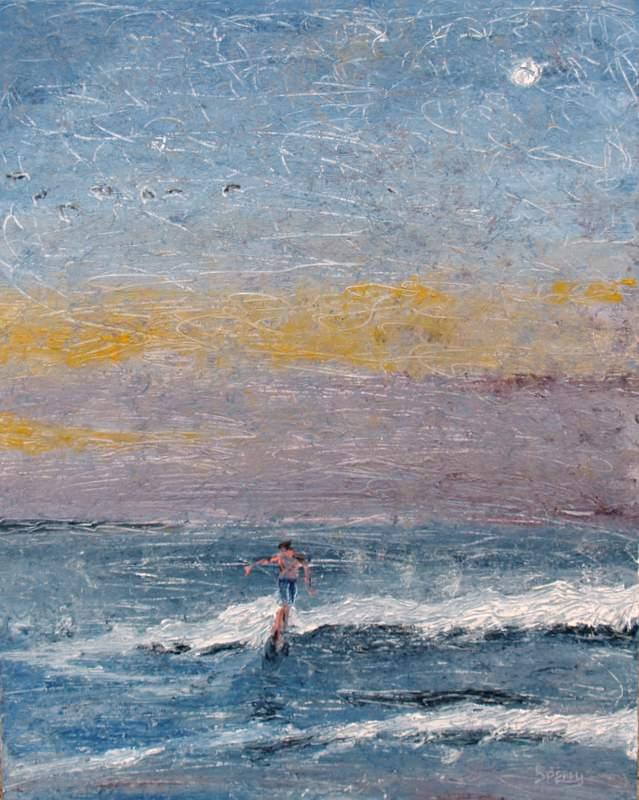"'Moonlight Surfer', 16""x20"" oil on board"