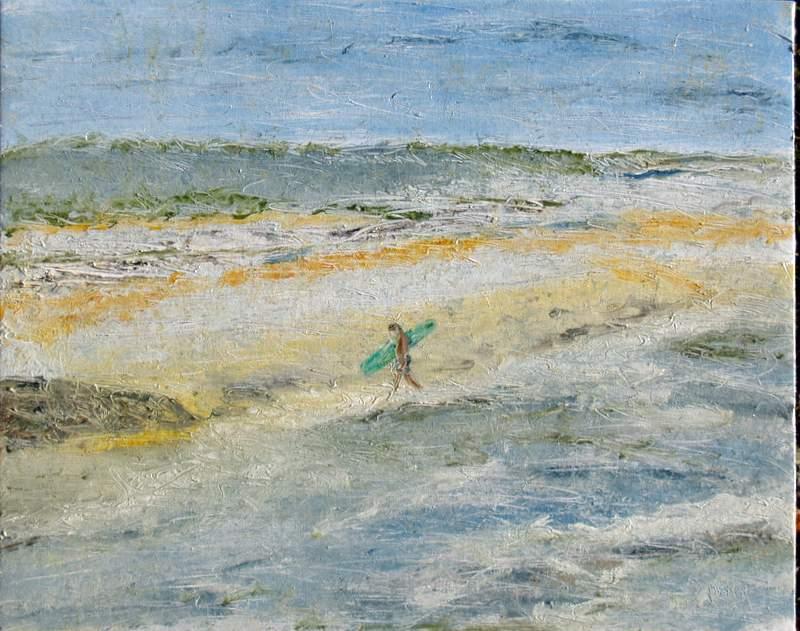 """'Green Surf Board', 20""""x16"""" oil on board"""