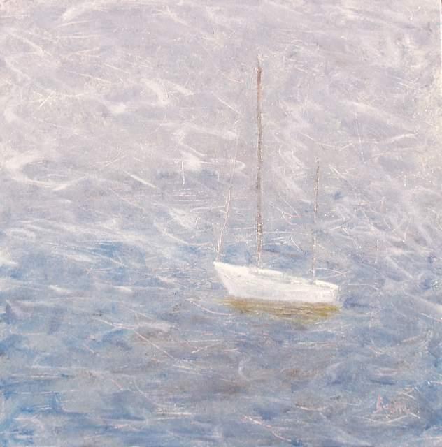 "Adrift, 20""x20"" oil on canvas"