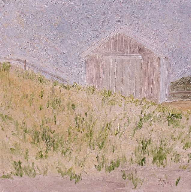 "'Beach Hut', 18""x18"" oil on canavs"