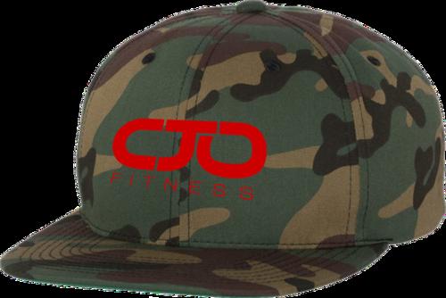 5e3eddae0cd Camo Flat Bill Snapback Cap w  Red Stitching Logo — I AM CJO