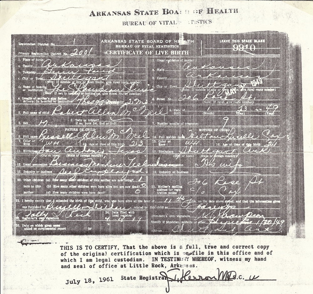Robert Allen McNeil - Arkansas Certificate of Live Birth