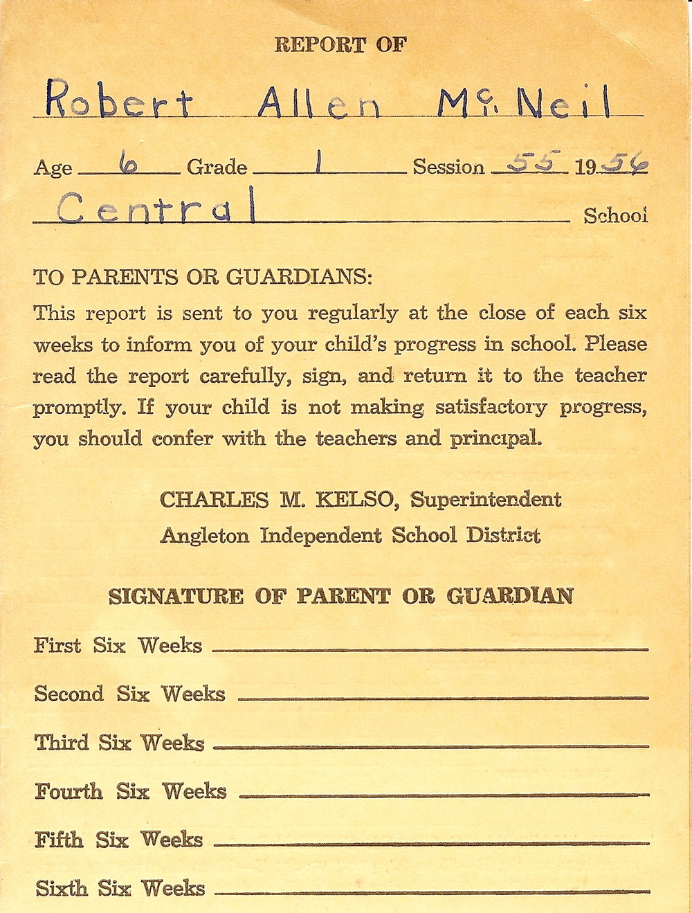 1955 - Age 6 - First Grade Report Card - Page 1