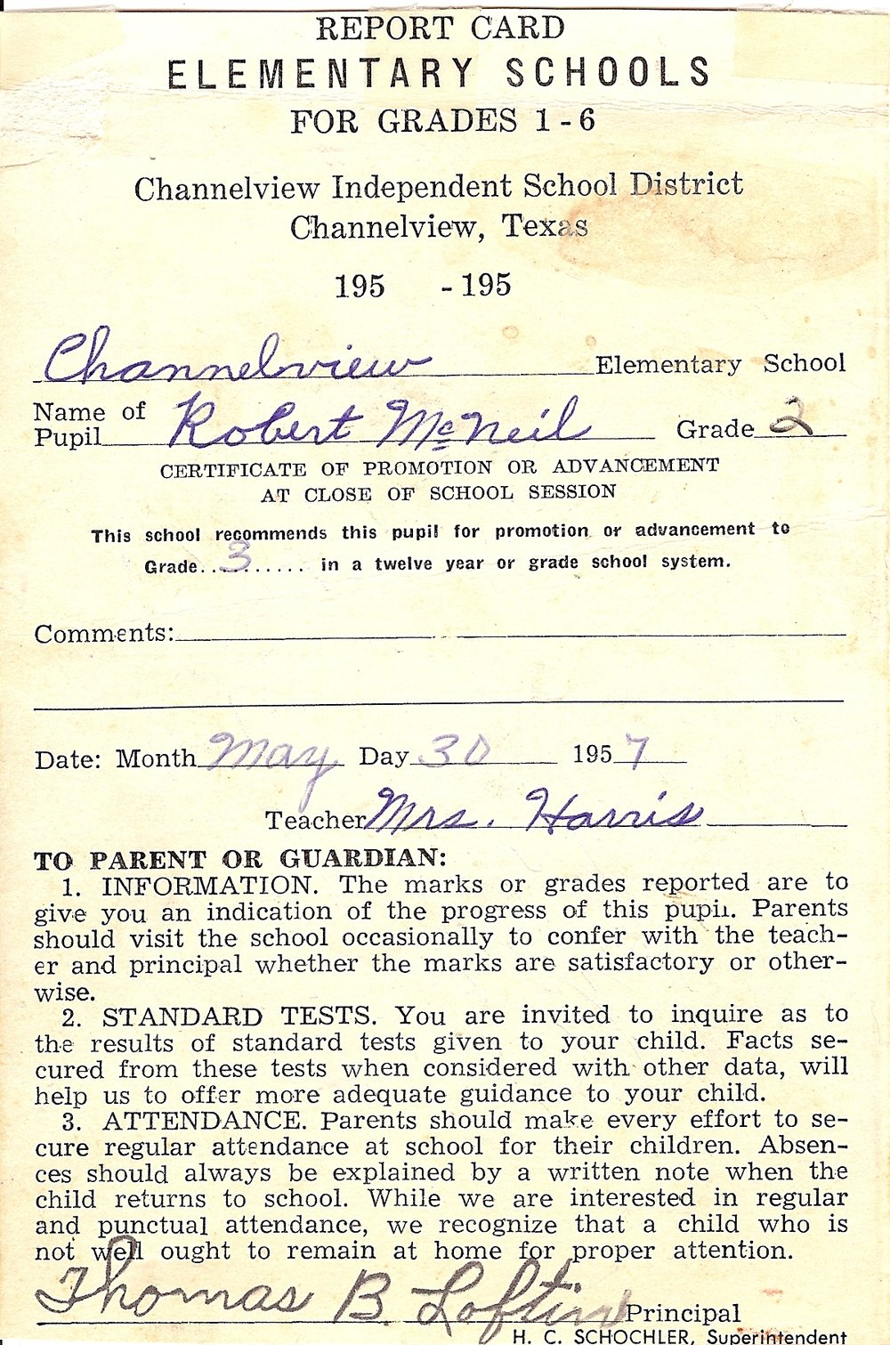 Bob McNeil - 1957 - Age 8 - Second Grade Report Card - page 1