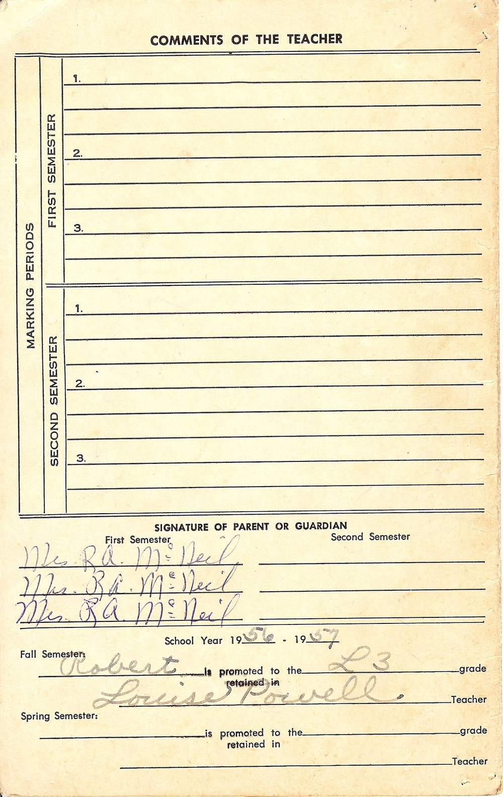 Bob McNeil - 1957 - Age 8 - Second Grade Report Card - page 3