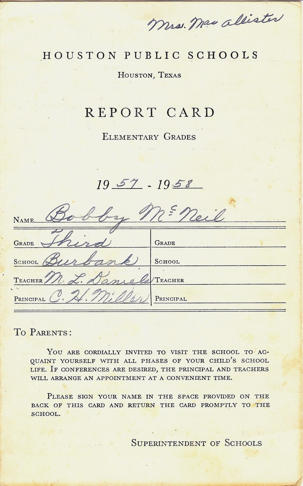 Bob McNeil - 1957 - Age 8 - Third Grade Report Card - page 1