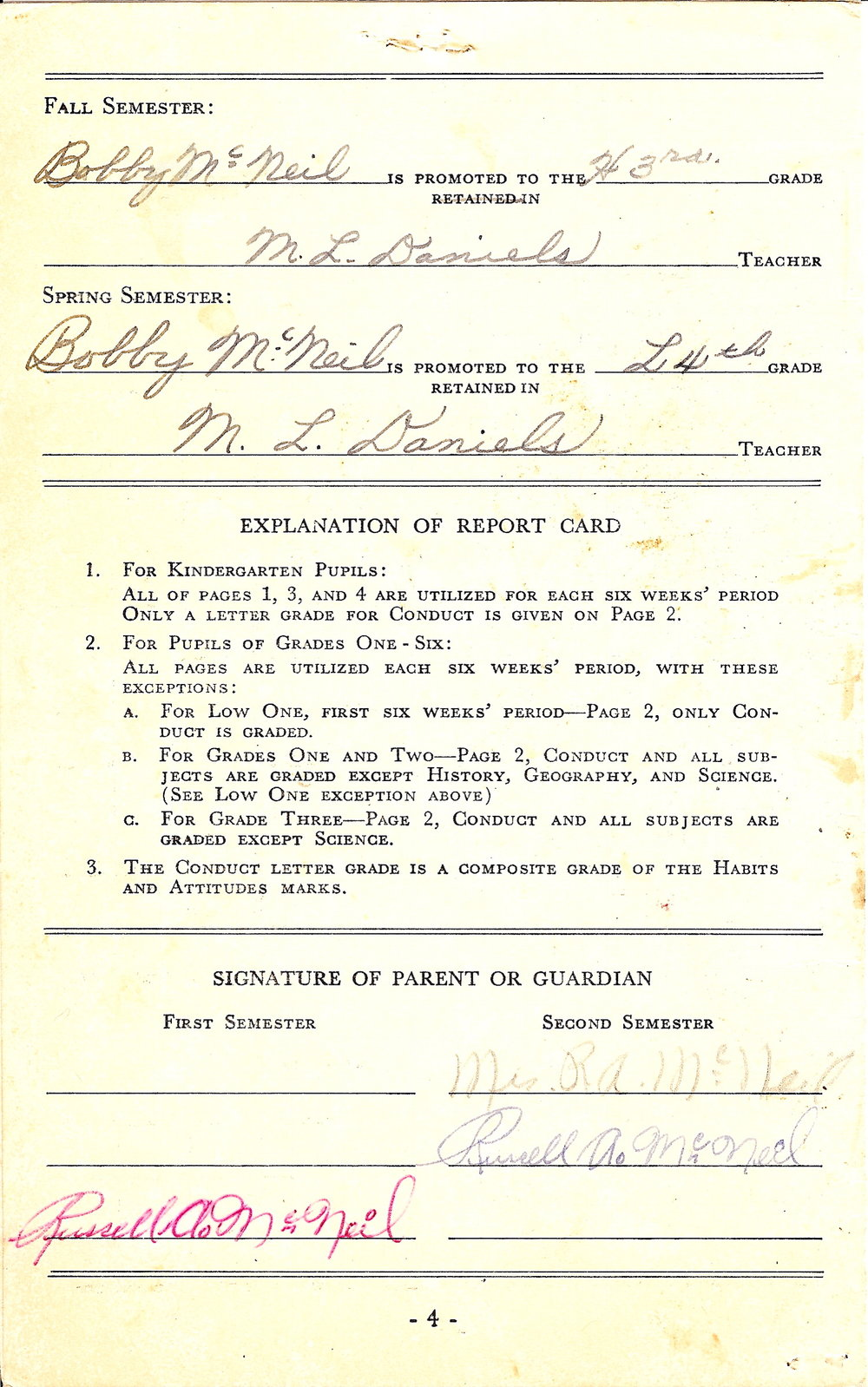 Bob McNeil - 1957 - Age 8 - Third Grade Report Card - page 3