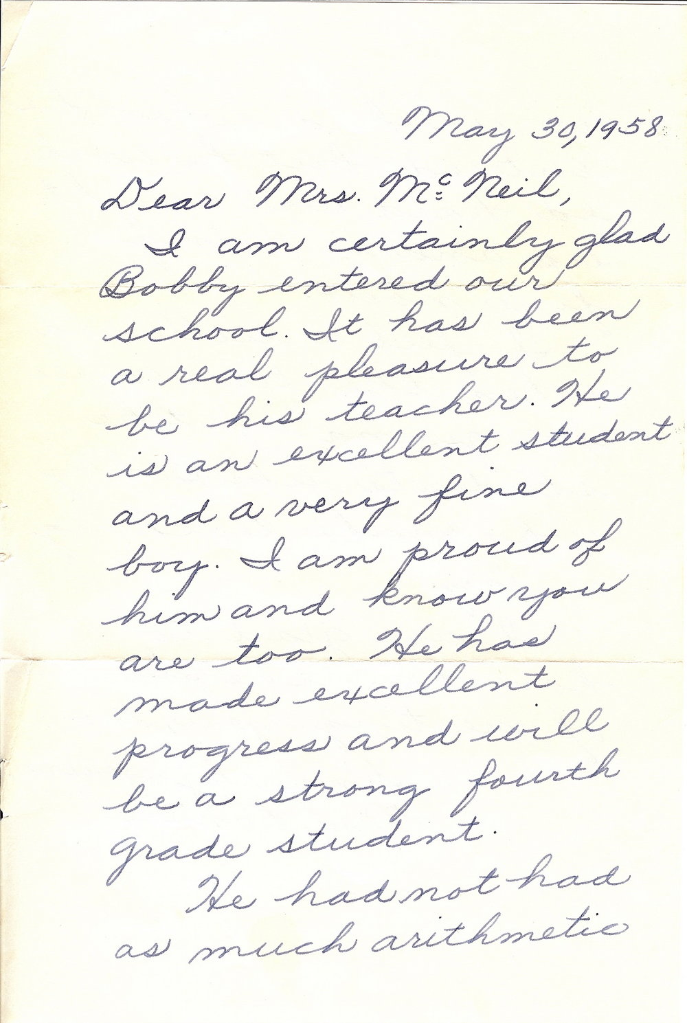 1958 - Age 9 - Letter from Mrs. Daniels - page 1
