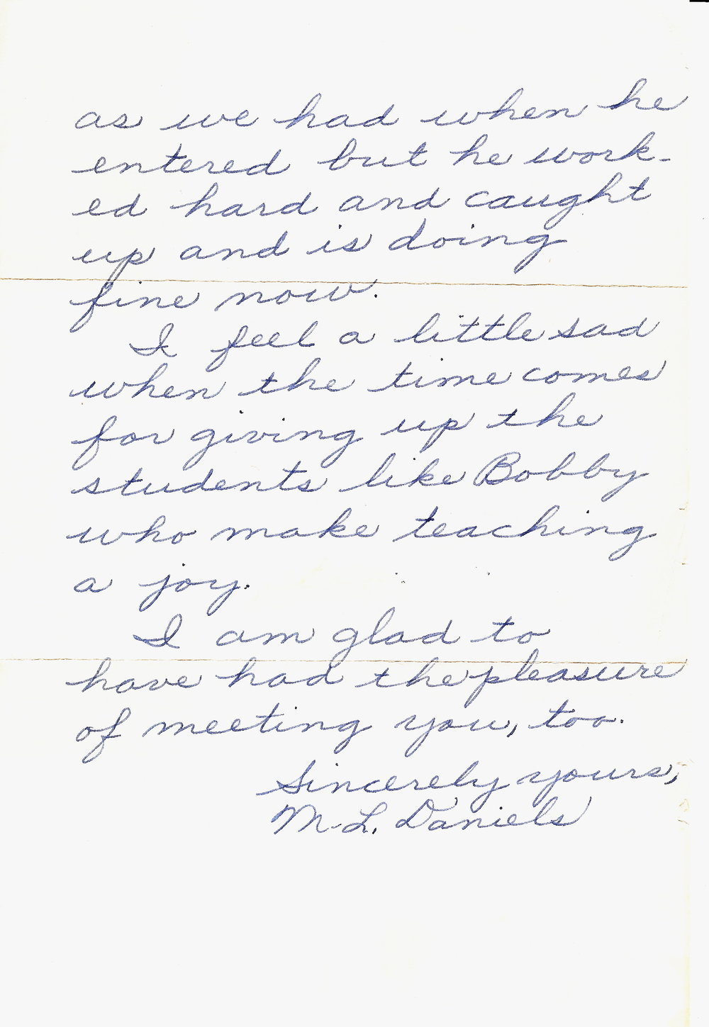 1958 - Age 9 - Letter from Mrs. Daniels - page 2