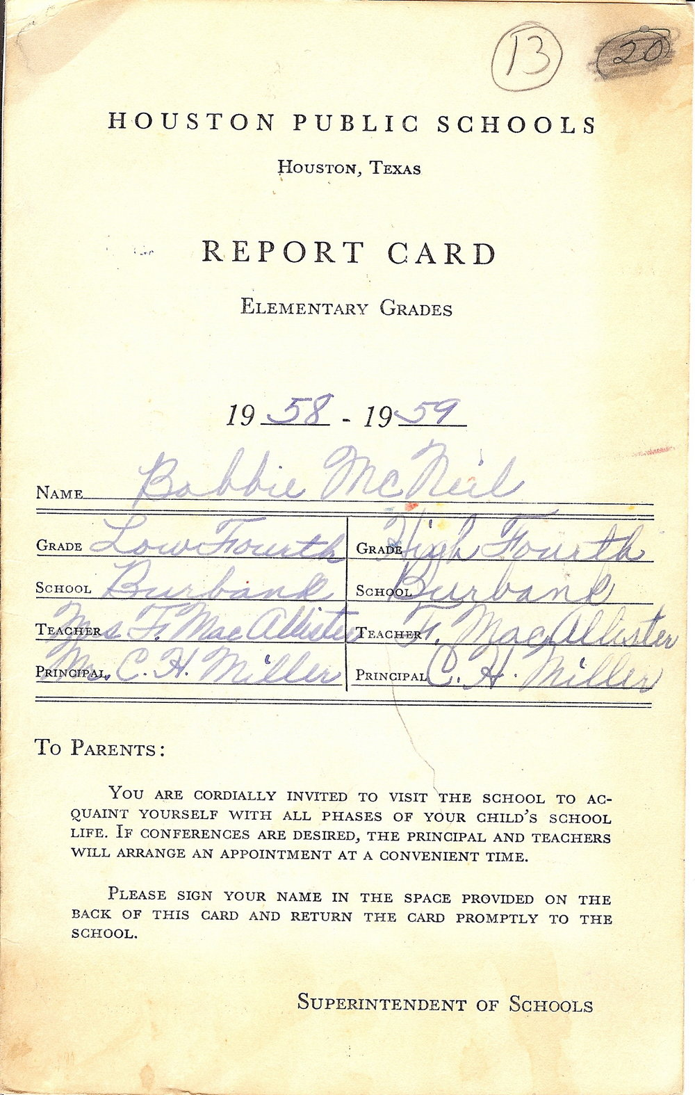 Bob McNeil - 1958 - Age 9 - Fourth Grade Report Card - page 1