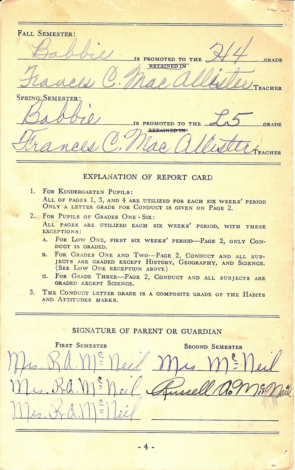 Bob McNeil - 1958 - Age 9 - Fourth Grade Report Card - page 3