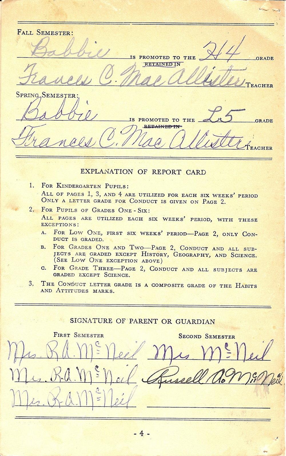 Bob McNeil - 1958 - Age 9 - Fourth Grade Report Card - page 3