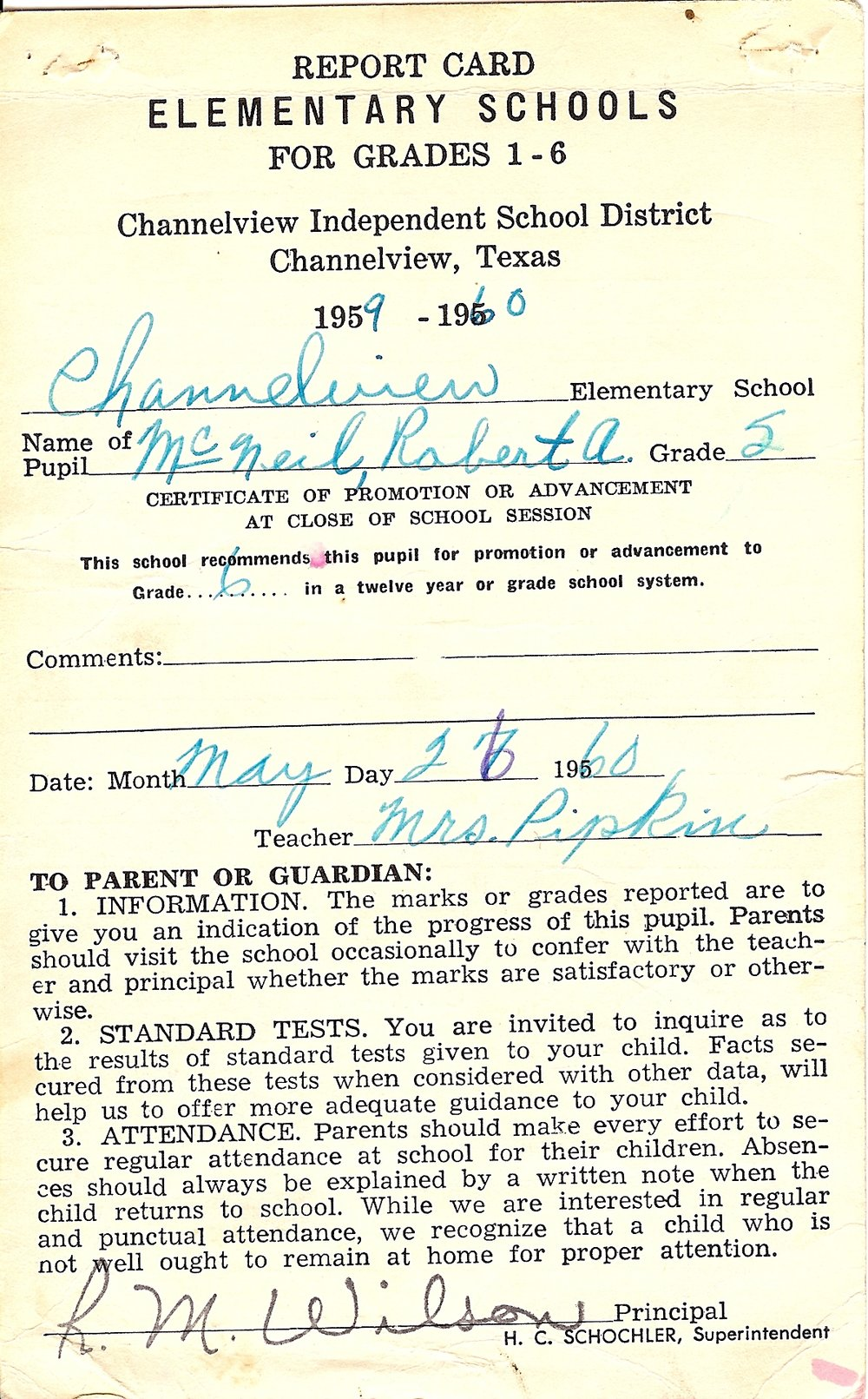 Bob McNeil - 1960 - Age 11 - Fifth Grade Report Card - page 1