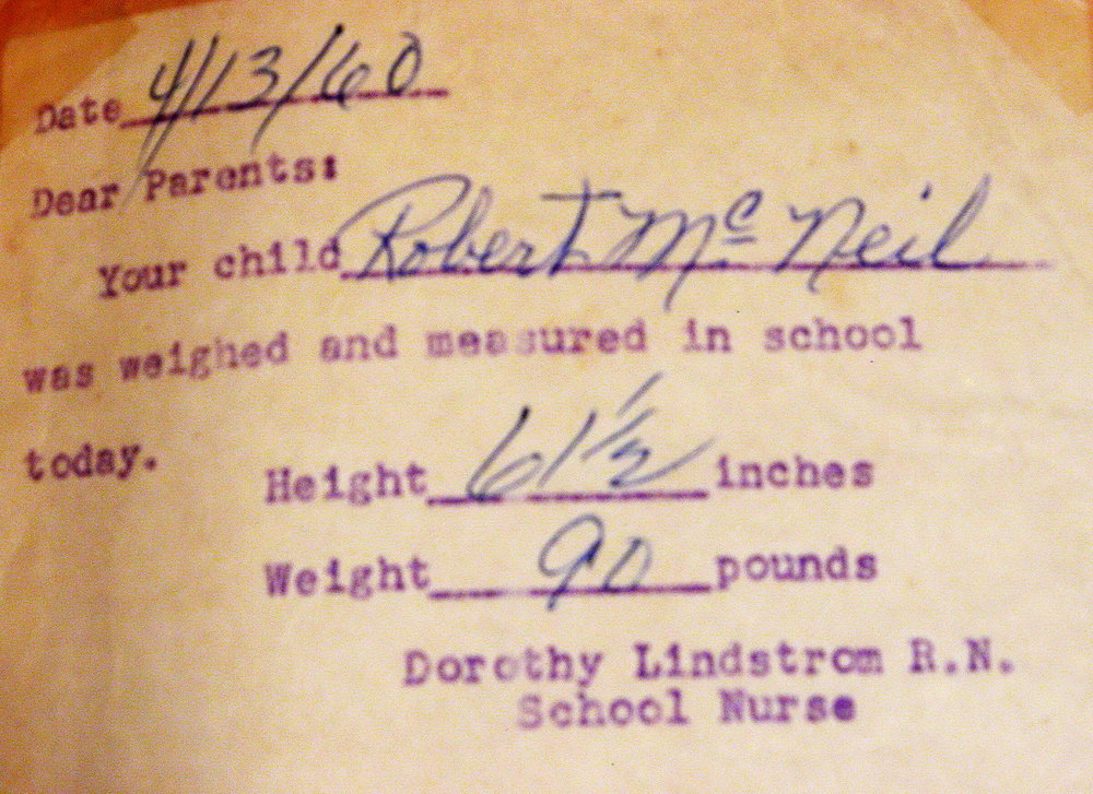 Bob McNeil - 1960 - Age 11 - Fifth Grade - Height and Weight