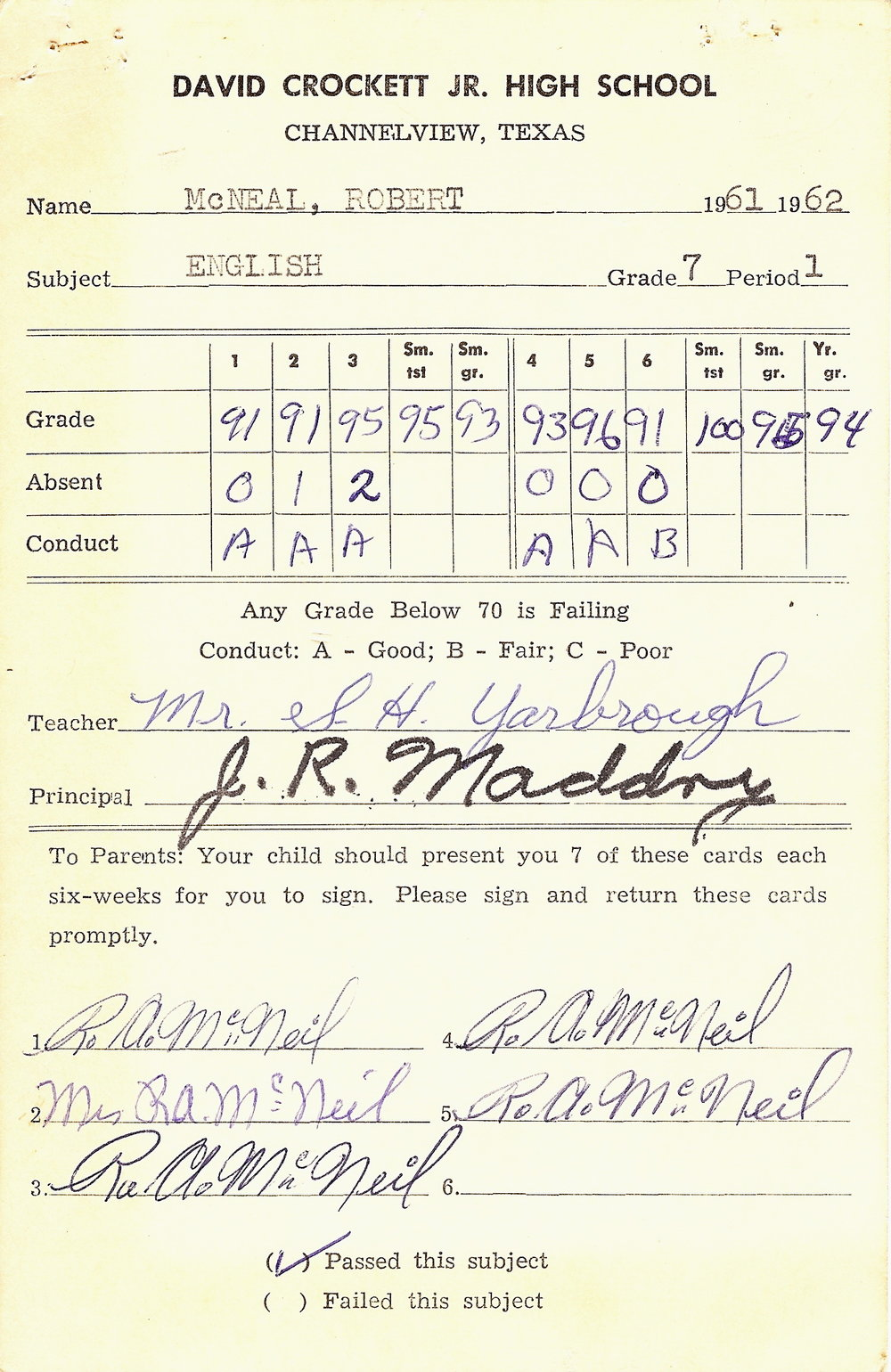 Bob McNeil - 1962 - Age 13 - Seventh Grade English Report Card