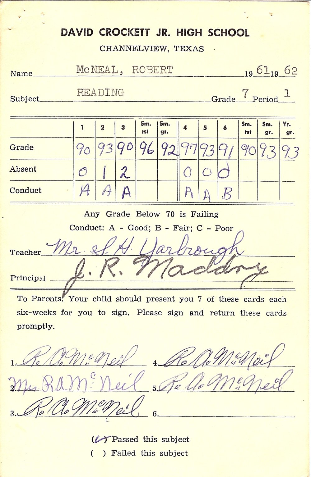 Bob McNeil - 1962 - Age 13 - Seventh Grade Reading Report Card
