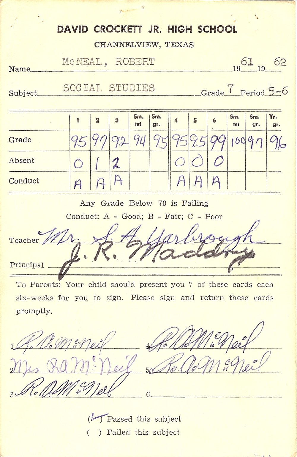 Bob McNeil - 1962 - Age 13 - Seventh Grade Social Studies Report Card