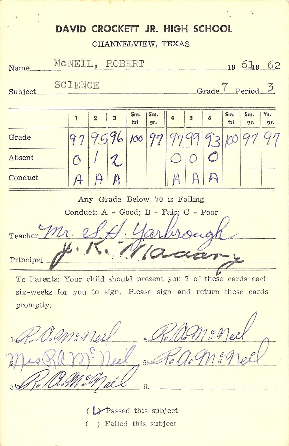 Bob McNeil - 1962 - Age 13 - Seventh Grade Science Report Card