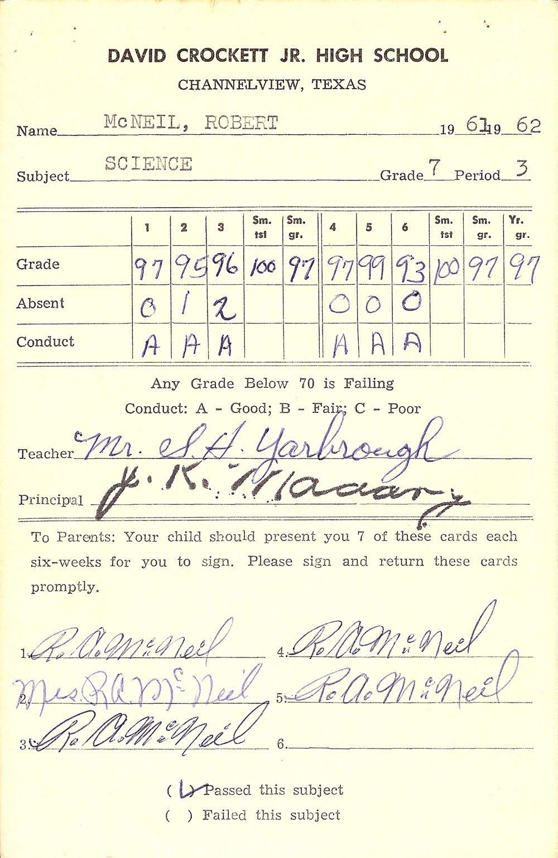 Bob McNeil - 1962 - Age 13 - Seventh Grade Science Report Card