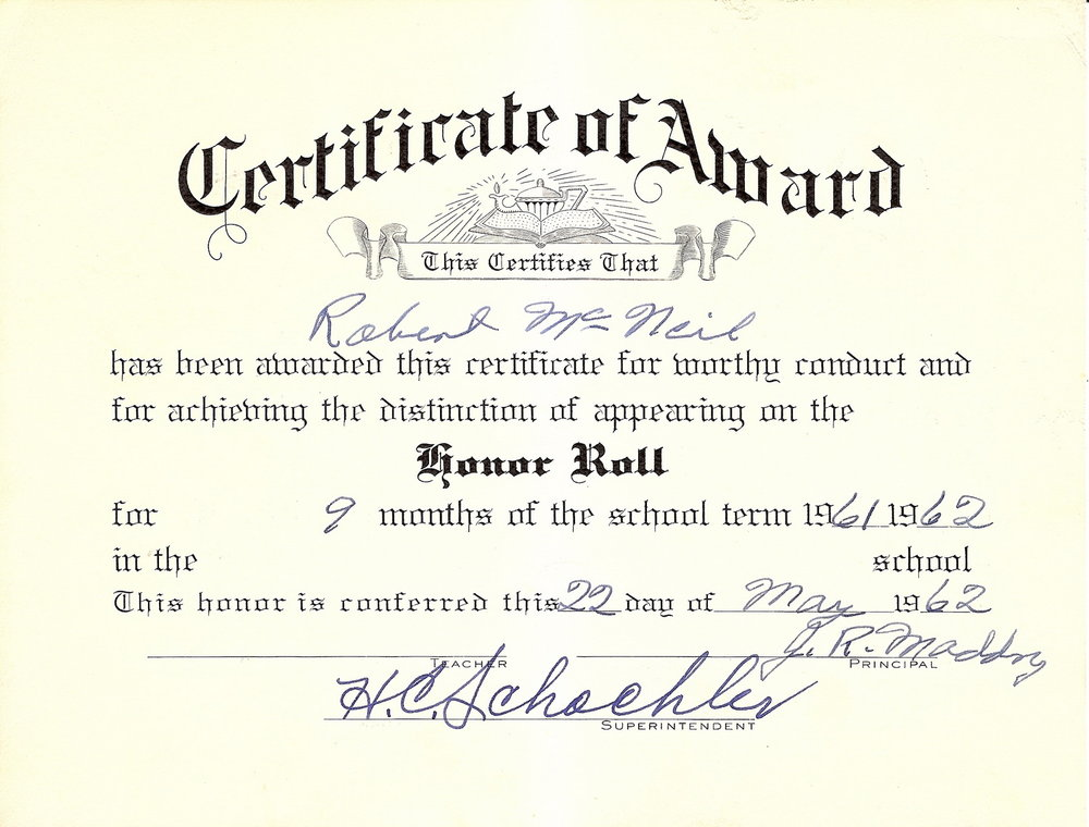 Bob McNeil - 1962 - Age 13 - Seventh Grade Honor Roll Certificate