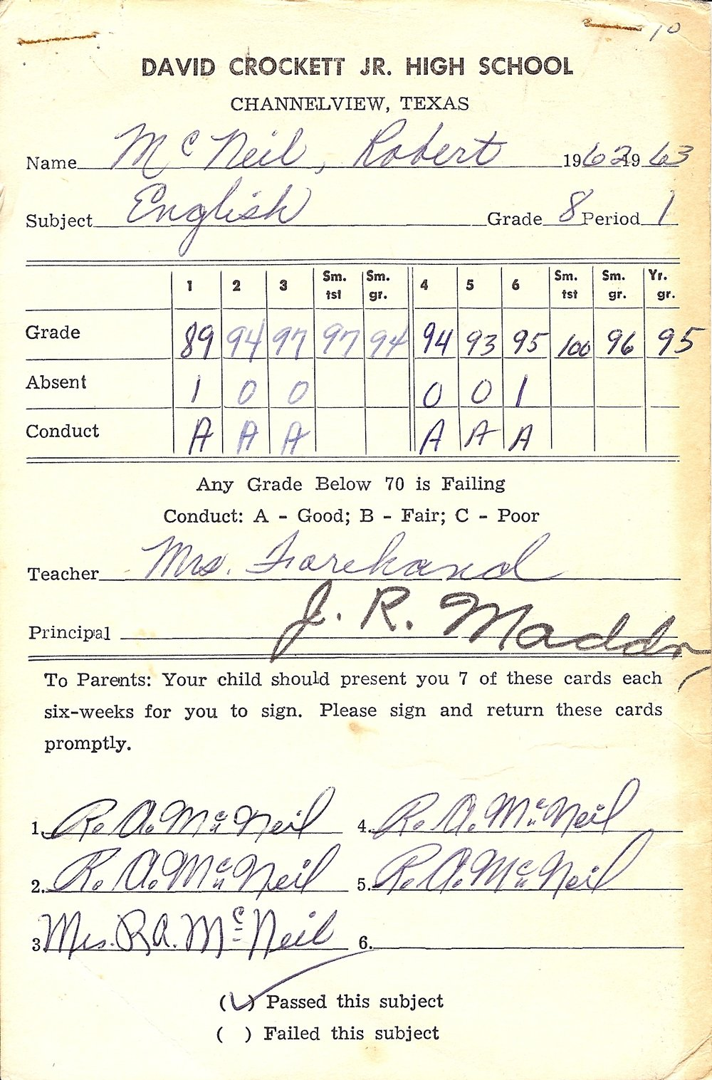 Bob McNeil - 1963 - Age 14 - Eighth Grade English Report Card