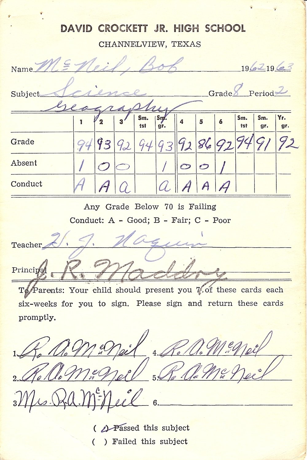 Bob McNeil - 1963 - Age 14 - Eighth Grade Science Report Card