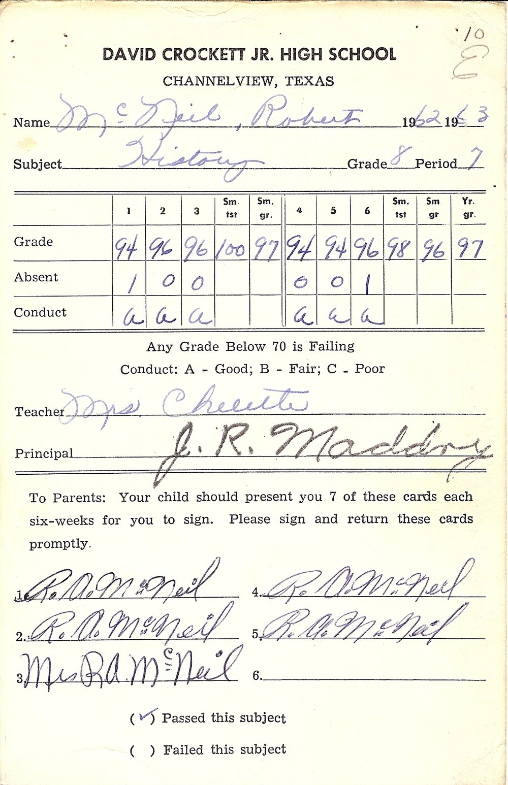 Bob McNeil - 1963 - Age 14 - Eighth Grade History Report Card