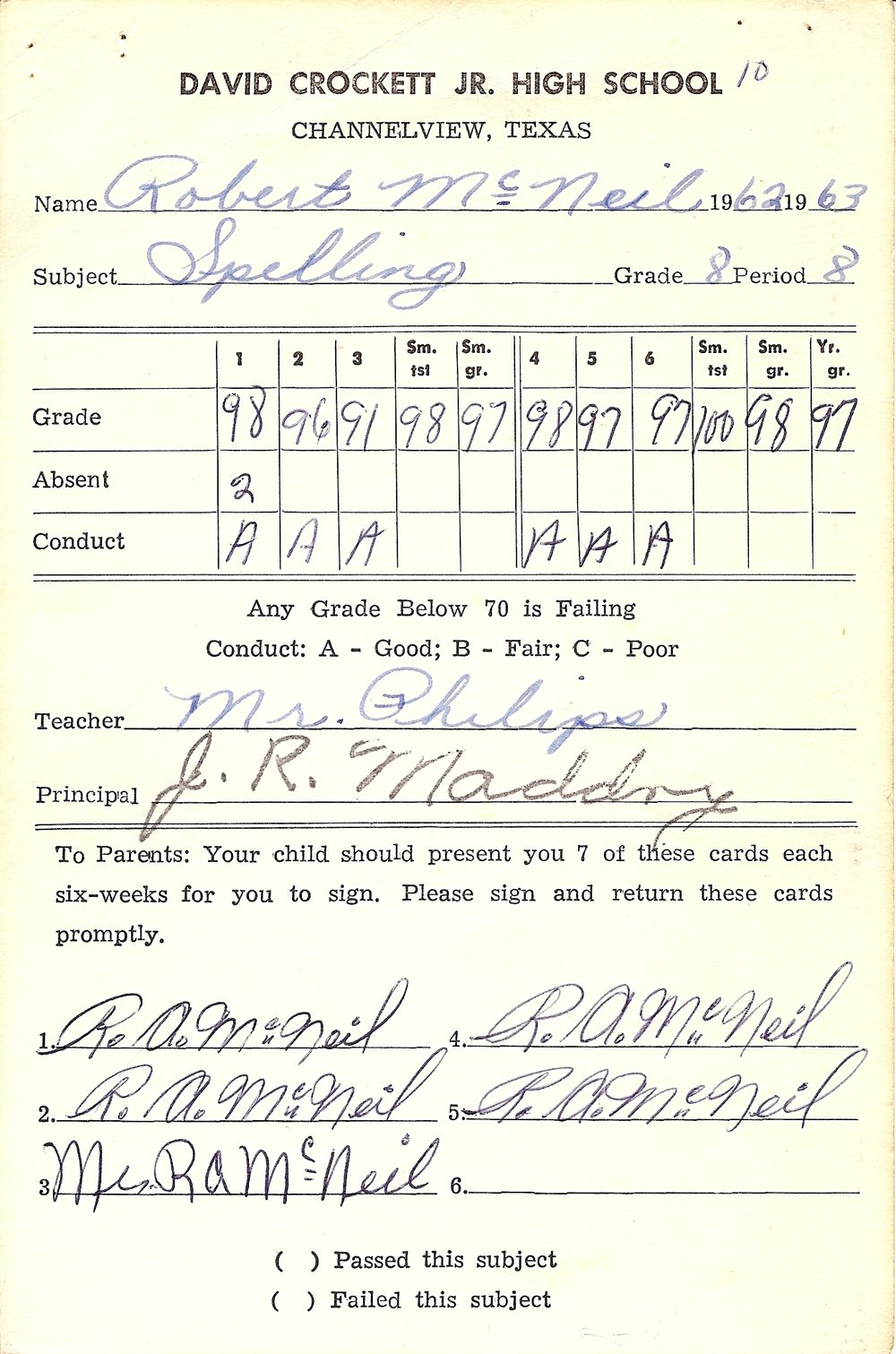 Bob McNeil - 1963 - Age 14 - Eighth Grade Spelling Report Card