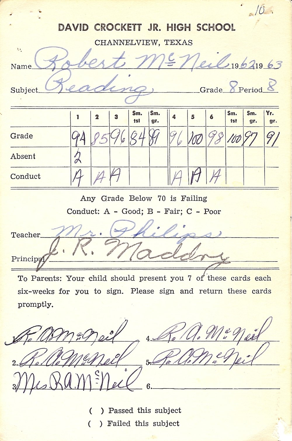 Bob McNeil - 1963 - Age 14 - Eighth Grade Reading Report Card