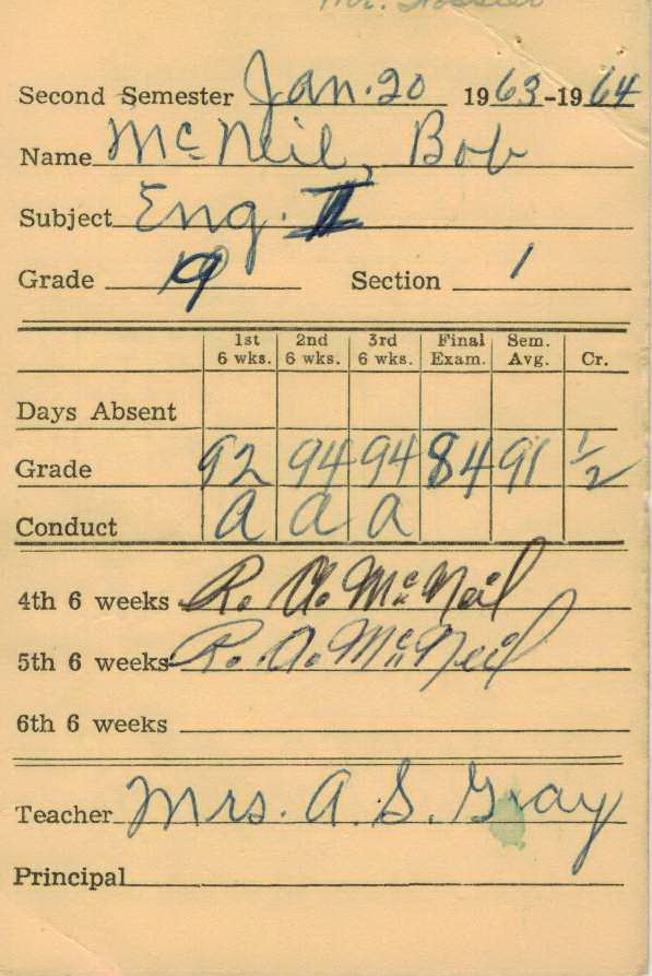 Bob McNeil - 1964 - Age 15 - Ninth Grade - Spring Semester - English 1 Report Card