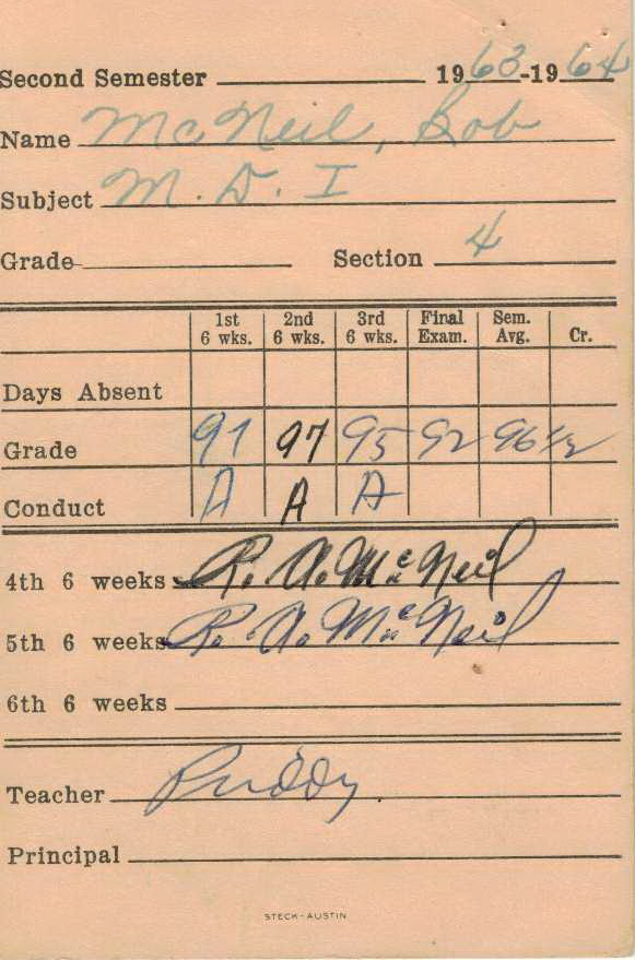 Bob McNeil - 1964 - Age 15 - Ninth Grade - Spring Semester - Mechanical Drawing 1 Report Card