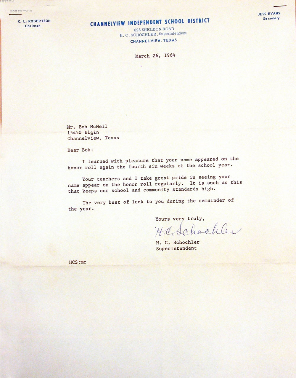 Bob McNeil - 1964 - Age 15 - Ninth Grade - Honor Roll Letter - Channelview High School