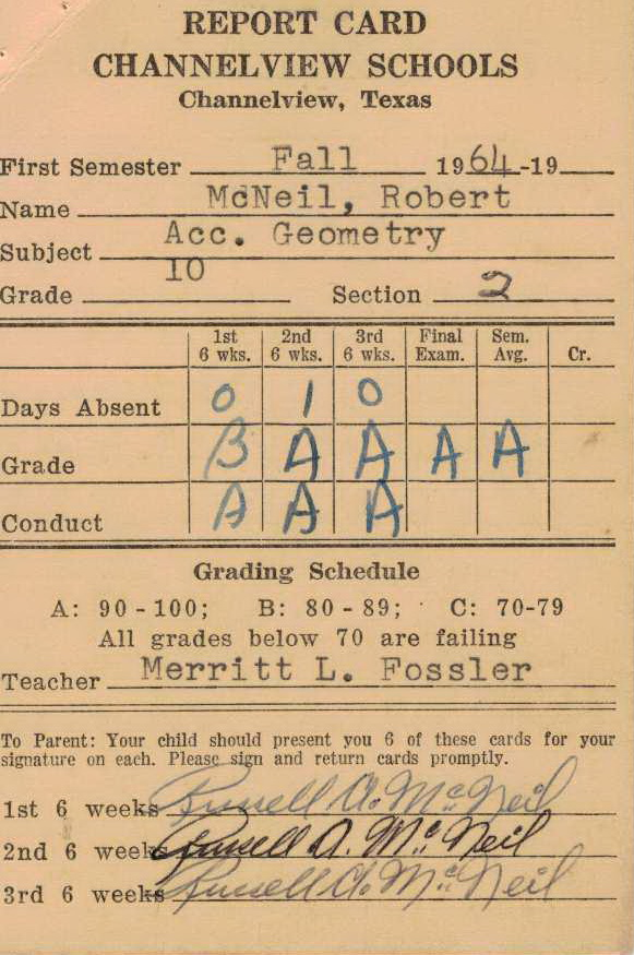 Bob McNeil - 1964 - Age 15 - Tenth Grade - Fall Semester - Accelerated Geometry Report Card - Channelview High School