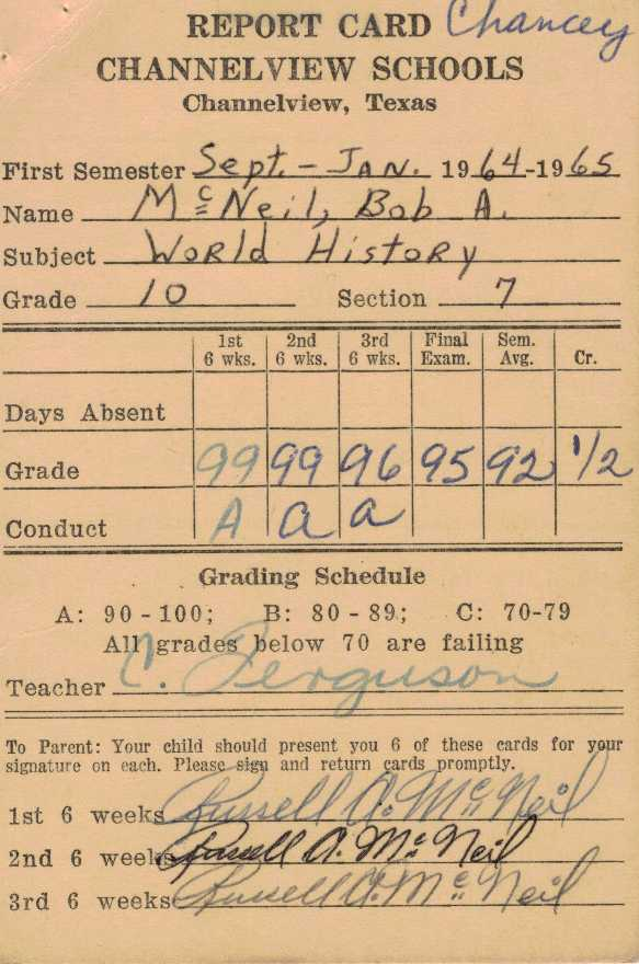 Bob McNeil - 1964 - Age 15 - Tenth Grade - Fall Semester - World History Report Card - Channelview High School