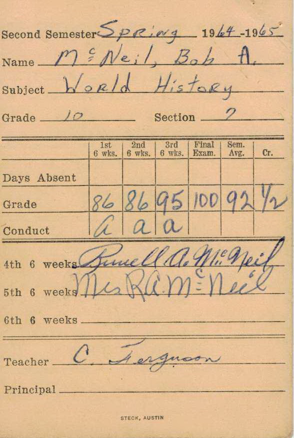 Bob McNeil - 1965 - Age 16 - Tenth Grade - Spring Semester - World History Report Card - Channelview High School