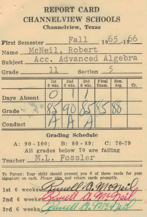 Bob McNeil - 1965 - Age 16 - Eleventh Grade - Fall Semester - Accelerated Advanced Algebra Report Card - Channelview High School