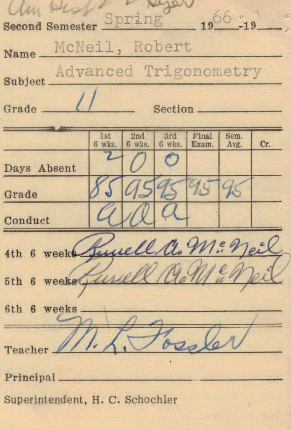 Bob McNeil - 1966 - Age 17 - Eleventh Grade - Spring Semester - Advanced Trigonometry Report Card - Channelview High School