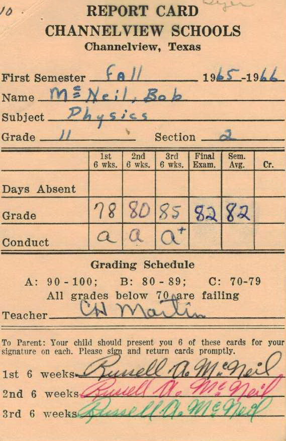 Bob McNeil - 1965 - Age 16 - Eleventh Grade - Fall Semester - Physics Report Card - Channelview High School