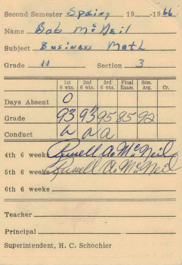 Bob McNeil - 1966 - Age 17 - Eleventh Grade - Spring Semester - Business Math Report Card - Channelview High School