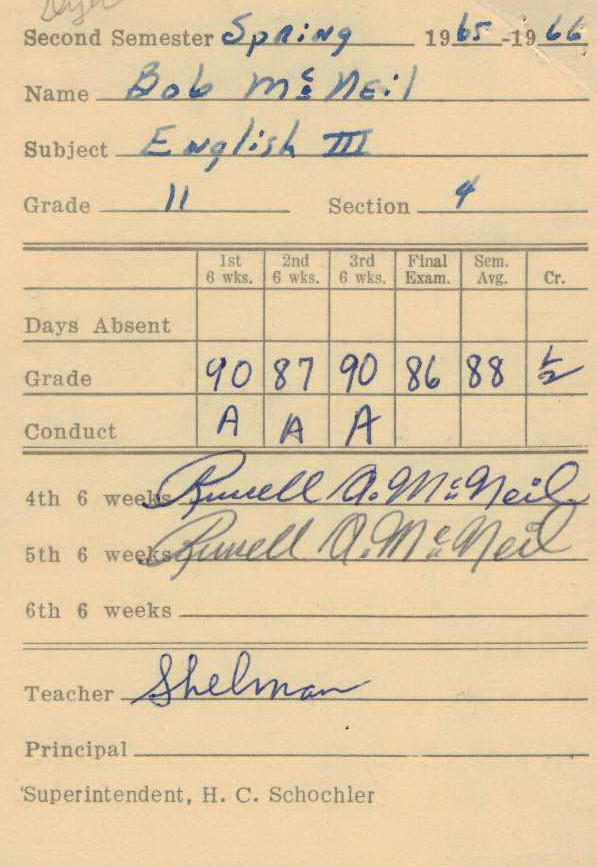 Bob McNeil - 1966 - Age 17 - Eleventh Grade - Spring Semester - English 3 Report Card - Channelview High School